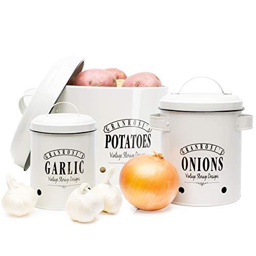 Granrosi Vorratsbehälter Set - Kartoffeltopf, Zwiebeltopf und Knoblauchtopf im Vintage Design für eine stilvolle Aufbewahrung und Lange Haltbarkeit