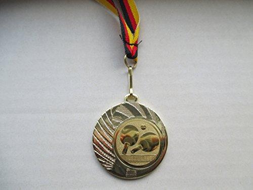 10 x Medaillen - aus Stahl 40mm - mit Einem Emblem, Tischtennis - TT - Logo - inkl. Medaillen-Band - Farbe: Gold - Emblem 25mm - (e262) -