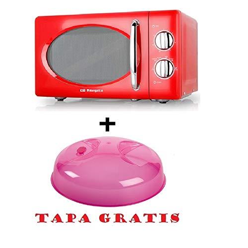 Microondas Orbegozo MI 2020, 20 L, 6 Niveles, 700 W, Rojo + tapa para micro gratis