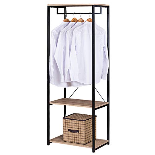 eSituro Clothes Rail, Heavy Duty Clothes Rack Black Metal Garment Rack Stand for Bedroom with Wooden Storage Shelves 2 Shelf Shoe Rack with Hanging Rod