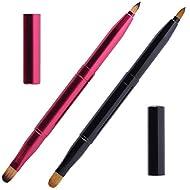 2 Pcs Retractable Lip Brushes Portable Dual End Lipstick Brush Lip Contours Makeup Brush Concealer B...