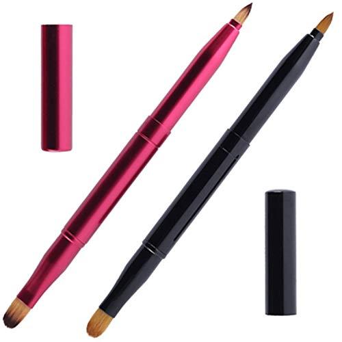 mSure - 2 pennelli retrattili per le labbra, portatili, a doppia estremità, per rossetto e contorno labbra, pennello correttore con tappo