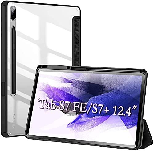 DUZZONA Hülle für Samsung Galaxy Tab S7 FE/S7+ Plus 12.4,Ultra Dünn Leicht PU Leder Tasche Etui für Galaxy Tab S7 FE,Stand Schutzhülle Shell mit Transparenter PC Rückhülle für Tab S7 FE 5G-Schwarz