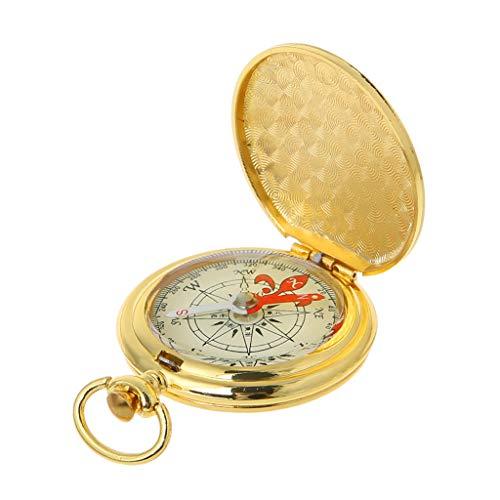 SIQIMI Taschenuhr, mit Kompass, tragbar, Wandern, Navigationskompass, leuchtet im Dunkeln, Navigationskompass, Schlüsselanhänger, Gold, app.10.9cmx6.4cmx2cm/4.29inx2.52inx0.79in