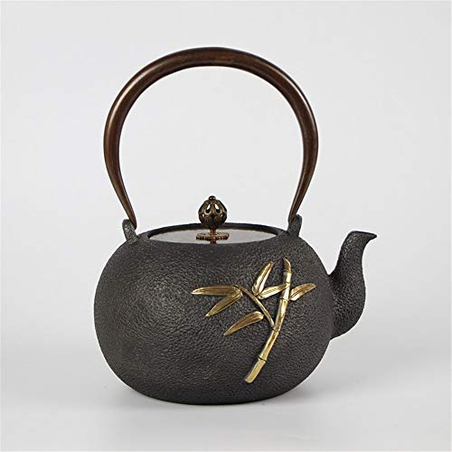 Cast Iron Teapot Old Pot Gilt Old Pot Iron Pot Uncoated Health Teapot Iron Pot Iron + Copper Best Gift (Color : Cast iron, Size : 1300ml)