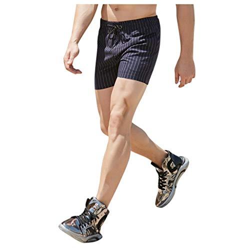 Amazing Deal Leadmall Men's Classic Stripe Shorts – Men Slim Fit Workout Trunks Comfortable Pyjama Trousers with Drawstring Elastic Waist