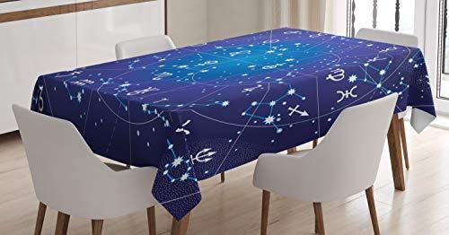 ABAKUHAUS Astrología Mantele, constelación del Zodiaco, Fácil de Limpiar Colores Firmes y Durables Lavable Personalizado, 140 x 170 cm, Azul Oscuro