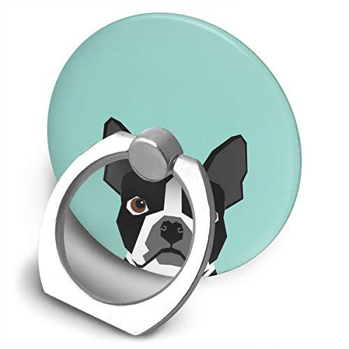 Logan Boston Terrier - Soporte para teléfono móvil, diseño de mascota con colores llamativos y modernos para los amantes de las mascotas, soporte de soporte de anillo de teléfono celular de forma redonda, soporte de metal giratorio de 360 grados para la serie de teléfonos