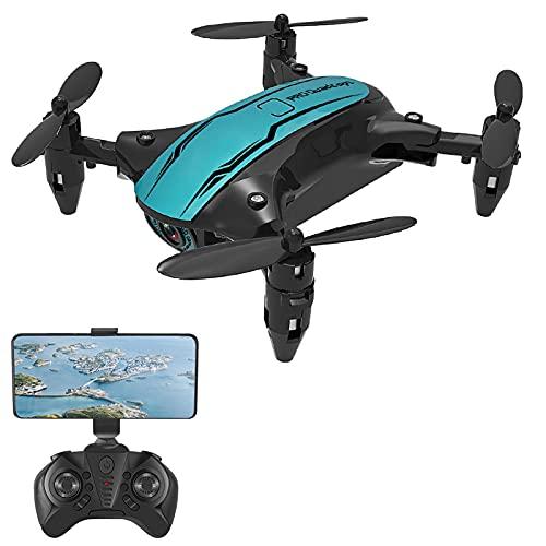 Zwbfu drone rc con fotocamera,CS02 RC Drone con fotocamera 4K Wifi FPV Drone per principianti Mini Quadricottero pieghevole Giocattolo per bambini Modalità senza testa Pista Volo Luci a LED