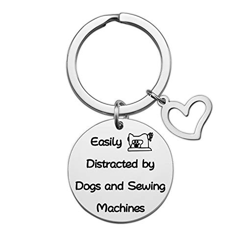 Ribukat Dog Lover Gift Sewing Sewers Gifts for Sewers and Quilters Easily Distracted by Dogs and Sewing Machines Keychain (Dogs Sewing KR)