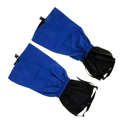 Paire de Guêtres Jambières Hautes en Nylon Imperméable Coupe-Vent pour Marche Randonnée de Neige Désert - Bleu, Taille Unique