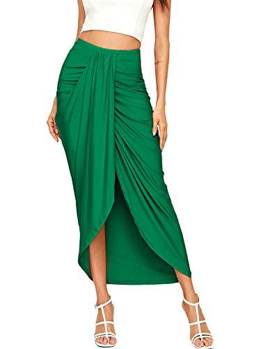 SheIn Women's Casual Slit Wrap Asymmetrical Elastic High Waist Maxi Draped Skirt Medium Green Medium