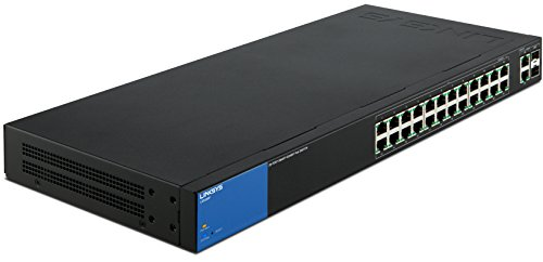 Linksys LGS326P-EU 26-Port Managed Rackmount Gigabit Switch (2x SFP Port, PoE+, Auto Sensing, Energiesparfuntion) schwarz