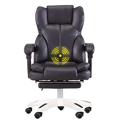 JIEER-C slaapkamer Executive Recline verdikte dubbele rugleuning PU-lederen bekleding bureaustoel Ultiem comfort Design massagefunctie opslaggewicht 150 kg (kleur: bruin) zwart