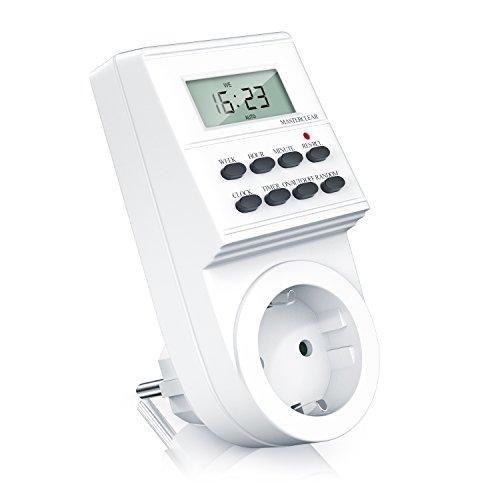 CSL-Computer Digitale Zeitschaltuhr - Weekly Digital Timer - minutengenau - LCD-Display - 3680W - 8 konfigurierbare Schaltprogramme Wochen Tages und Minutenprogramm - Zufallsschaltung - IP20