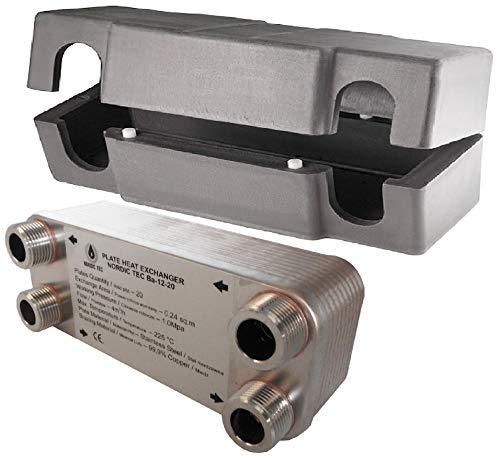 """Edelstahl Wärmetauscher Plattenwärmetauscher NORDIC TEC Ba-12-20, 45kW, 20 platten, 3/4"""""""