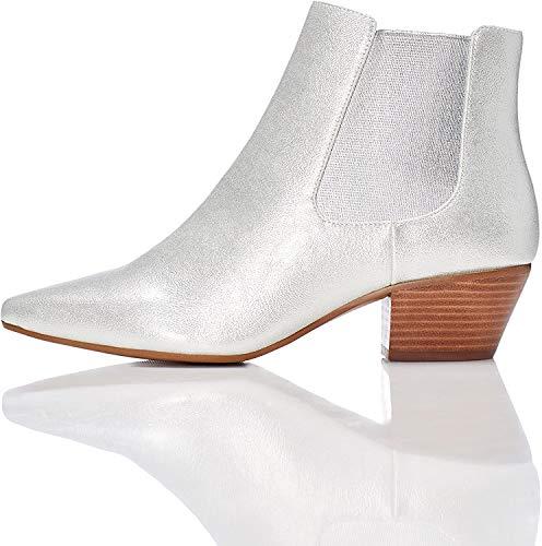 find. Damen Western-Stiefel in Lackleder-Optik, Silber (Silver), 38 EU
