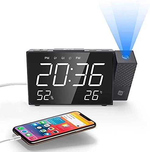 NK Radio Sveglia digitale - Smart, Radio FM, Misuratore di temperatura, Sveglia, USB, Modalità notturna, Proiezione dell'ora, Timer di spegnimento