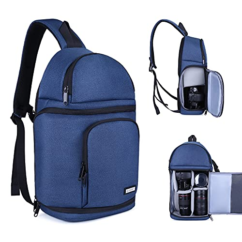 BAIGIO Bolsa para cámara réflex digital, impermeable, para objetivos y accesorios (azul)