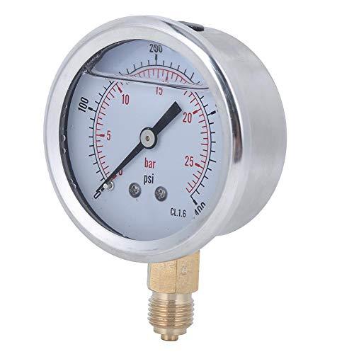Fafeicy Manometer Wasser, 1/4BSP Y60 Hochgenaues ölgefülltes Manometer 0-25 bar 0-400 psi, mit Hoher Härte, Langlebig und Verschleißfest, für Maschinen, Erdöl, Chemische Industrie