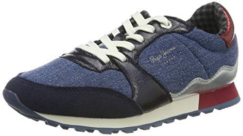 Pepe Jeans London Verona W Fray, Zapatillas para Mujer, Navy 595, 39 EU