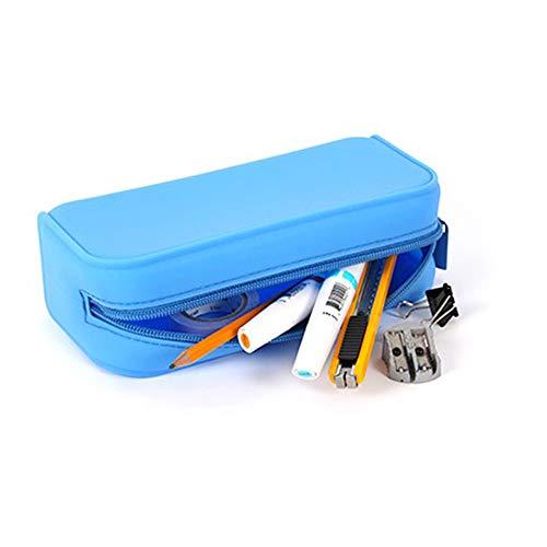 Emoly Premium Toiletry Bag Portable Pencil Pouch Mini 100 Silicone Multifunction Cosmetics Organizer Pouch Stationery Organizer Pencil Pouch with Zipper Blue