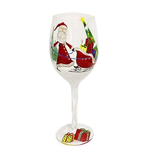 Copas de vino Colorido Pintado a Mano Copa Fiesta Santa Claus Árbol de Navidad Alce, Regalo de Navidad para los entusiastas del vino y las niñas-A