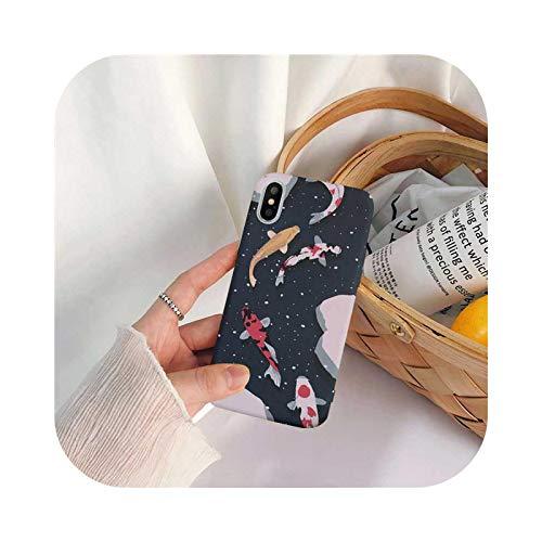 Nuestra Dame - Carcasa para iPhone 7, diseño de peces japoneses de lujo para iPhone 7 11 Pro Max 6S 8 Puls X XS Max XR Plus, funda flexible de silicona, color negro