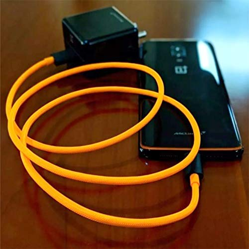 ONCRO® Improved Mclaren Dash/Warp 4-5a Rapid Charging and sync USB Type C Cable Suitable for OnePlus All Type C Devices 7, 7 Pro, 6T, 6, 5T, 5, 3T, 3 (WARP Cable, Orange)