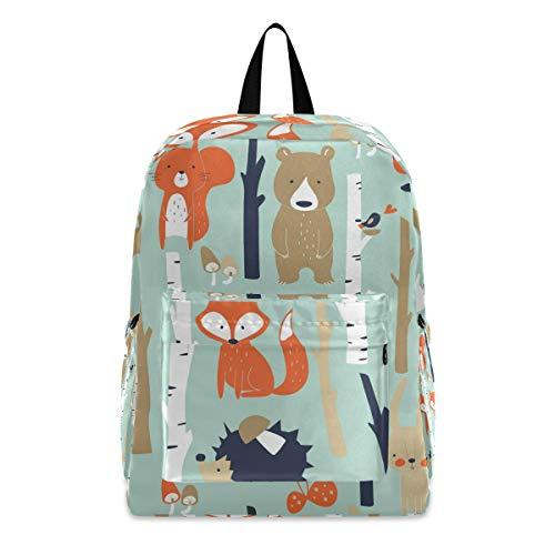 PUXUQU - Mochila escolar infantil, diseño de zorro, ardilla, erizo, oso
