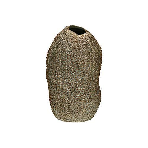 PTMD decoratieve vaas bloemenvaas Mitra van aardewerk in natuurlijk - Afmetingen: 18 x H 28 cm