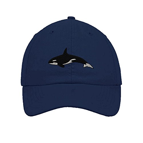 Speedy Pros Orca Embroidery Twill Cotton 6 Panel Low Profile Hat Navy