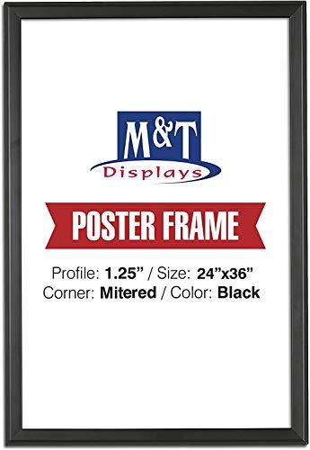 M&T Displays Snap Frame, 24X36 Poster Size, 1.25' Mitered Corner, Professional, Front Loading (Black)