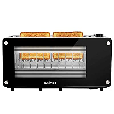 CUSIMAX Glass Toaster 2 Slice Long Slot Toasters with Window, Bangel Toaster, Artisian Bread Toaster Stainless Steel Wide Slot with Automatic Lifting, Slide-out Glass Panel and Removable Crumb Tray