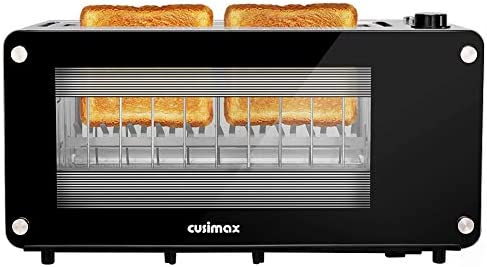 Toaster 2 Slice CUSIMAX Toaster Long Slot with Glass Window Bagel Toasters Artisan Bread Toaster product image