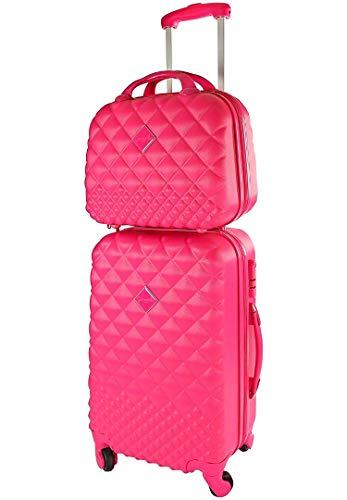 CAMOMILLA Milano Koffer-Set, Koffer-Set, Trolley für Reisen (40 l) + Vanity Case (10 l), Hartmaterial, Lenkrollen, fuchsia (Violett) - 02645