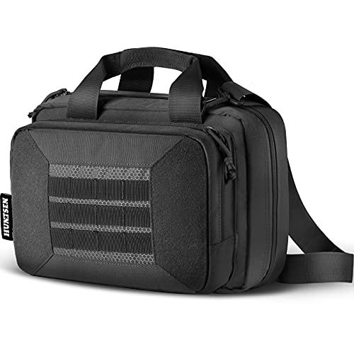 HUNTSEN Tactical Pistol Bag Double Handgun Bag Gun Bag Firearm Case Soft for Outdoor Hunting Shooting Transport Hunting Equipment with Adjustable Shoulder Strap Black