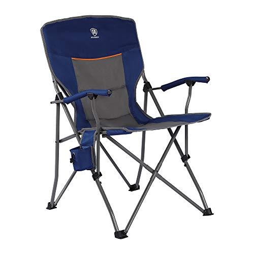 EVER ADVANCED Silla de Campamento Plegable de Gran Tamaño de Acero con Soporte para Tazas, Bolsa Lateral Picnic Playa Pesca Resistente 136 kg, Azul Nuevo