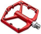 ROCKBROS Pédales VTT BMX Cyclisme Pedales Plates Vélo Anti-Glissant 9/16' en Alliage Aluminium Plate Forme 3 Roulements Scellés Velo Route MTB (Rouge)