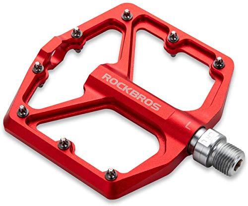 ROCKBROS Fahrradpedale Rennrad Pedale Aluminium Plattform Pedale Ultraleicht Antirutsch Fahrrad Pedale 9/16 Zoll für MTB E-Bike Stadtrad