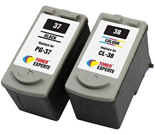 PG37 PG-37 CL38 CL-38 TONER EXPERTE® 2 XL Cartuchos de Tinta compatibles para Canon Pixma MX300 MX310 iP1800 iP1900 iP2500 iP2600 MP140 MP190 MP210 MP220 MP470 | Alta Capacidad