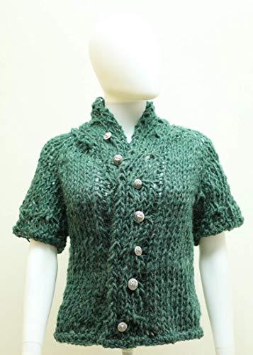 Cardigan, Trachtenjacke, Damenstrickjacke aus dicker grüner Schafwolle gestrickt