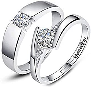 c7bd67884e Moneekar Jewels 925 Sterling Silver Plated Zircon Adjustable Couple Rings  for Men and Women -Set
