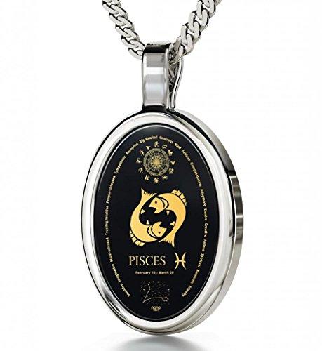 Collar de plata con dije del signo zodiacal Piscis e inscripciones del horóscopo en oro de 24ct sobre piedra preciosa de ónix - Joyas del zodiaco - Regalos únicos de cumpleaños