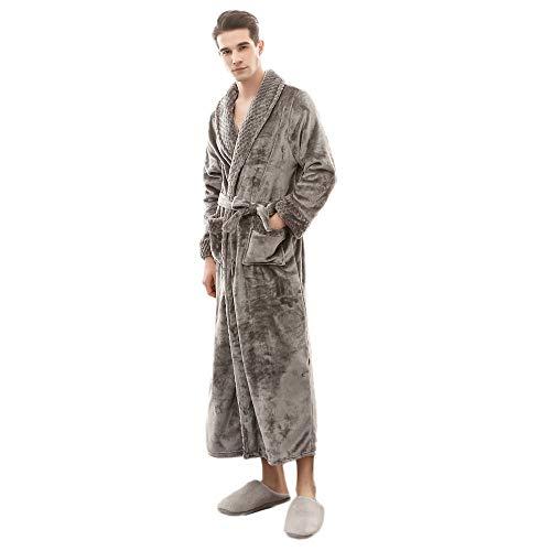 Vrouwen Mannen Unisex Winter Verlengd Pluche Sjaal Badjas Fleece Dressing Jurk Fluffy Bad Robe Housecoat Volledige Lange Slapen Nachtjas Verlengd Lange Mouwjas