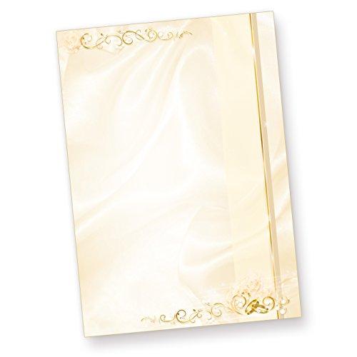 Briefpapier Hochzeit creme (50 Stück) beidseitig bedrucktes A4 Schreib-Papier, z.B. für Einladungen, Kirchen-Hefte, Hochzeits-Zeitung