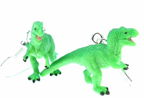 Miniblings Tyrannosaurus Rex Ohrringe Dinos Dinosaurier T-Rex Dino Gummi grün - Handmade Modeschmuck I Ohrhänger Ohrschmuck versilbert