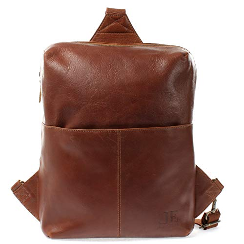 LECONI Crossbag Bodybag Lederrucksack Ledertasche natur Freizeit Rucksack Damen + Herren Umhängetasche Leder 28x34x10cm braun LE1029
