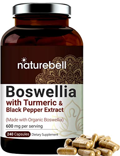Boswellia Capsules, Made with Organic Boswellia Extract, 600mg Per Serving, 240 Capsules with Black Pepper, Supports Muscle and Joint Health