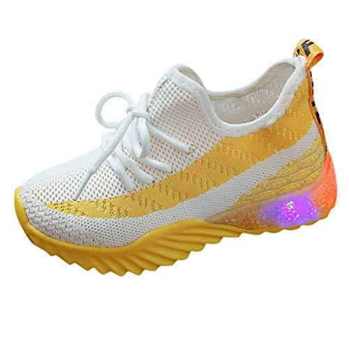 YWLINK Zapatos para NiñOs con Luces-Comodidad Transpirable Antideslizante-Color Caramelo Tela Tejida Voladora Zapatos con Luz LED Zapatos Casuales Zapatos Brillantes-Zapatillas De Fiesta